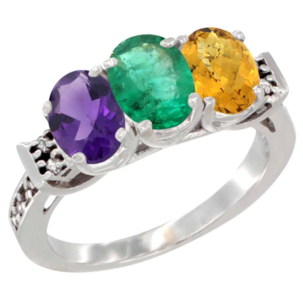 14K White Gold Natural Amethyst, Emerald & Whisky Quartz Ring 3-Stone 7x5 mm Oval Diamond Accent, sizes 5 - 10
