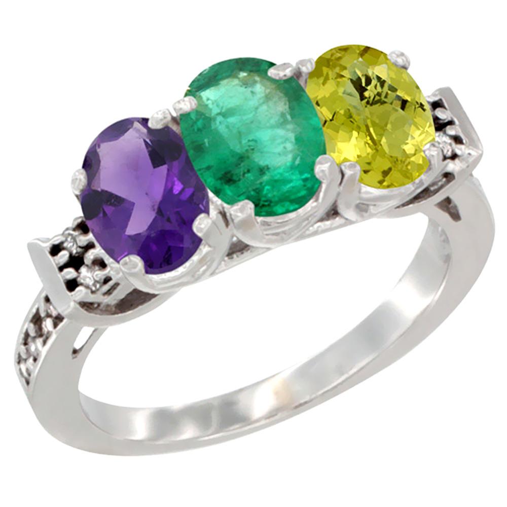 14K White Gold Natural Amethyst, Emerald & Lemon Quartz Ring 3-Stone 7x5 mm Oval Diamond Accent, sizes 5 - 10