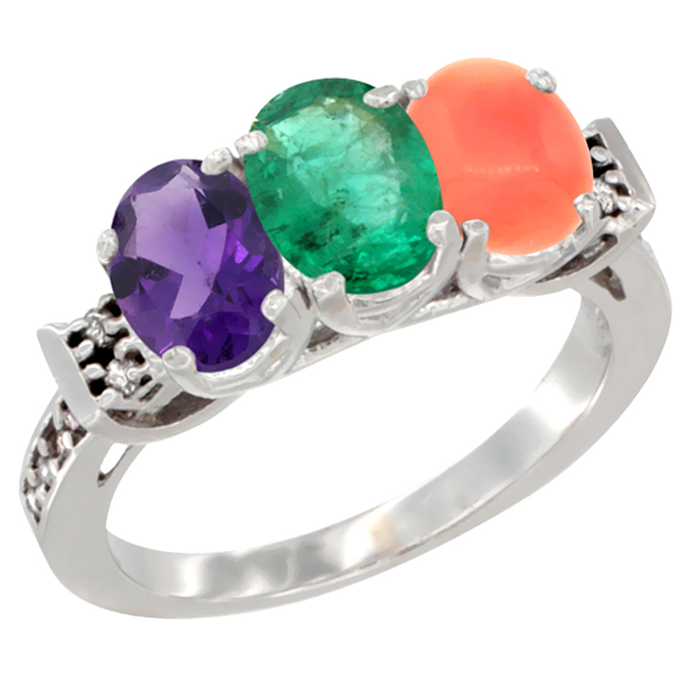 14K White Gold Natural Amethyst, Emerald & Coral Ring 3-Stone 7x5 mm Oval Diamond Accent, sizes 5 - 10