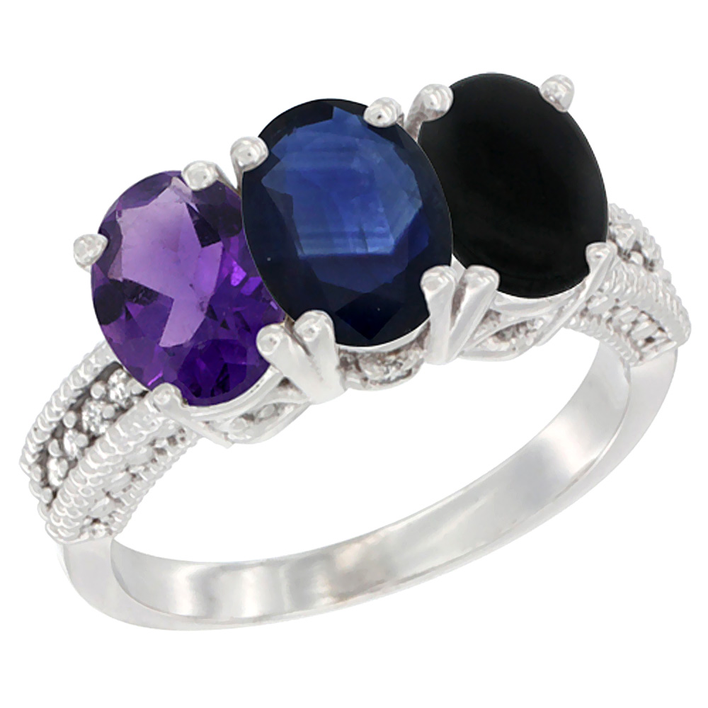 14K White Gold Natural Amethyst, Blue Sapphire & Black Onyx Ring 3-Stone 7x5 mm Oval Diamond Accent, sizes 5 - 10