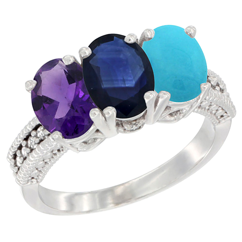 14K White Gold Natural Amethyst, Blue Sapphire & Turquoise Ring 3-Stone 7x5 mm Oval Diamond Accent, sizes 5 - 10
