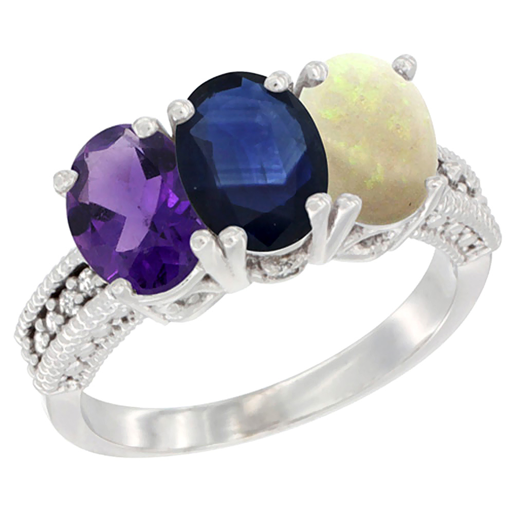 14K White Gold Natural Amethyst, Blue Sapphire & Opal Ring 3-Stone 7x5 mm Oval Diamond Accent, sizes 5 - 10