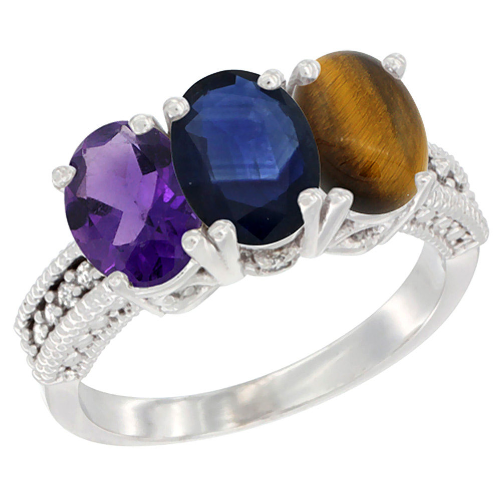 14K White Gold Natural Amethyst, Blue Sapphire & Tiger Eye Ring 3-Stone 7x5 mm Oval Diamond Accent, sizes 5 - 10