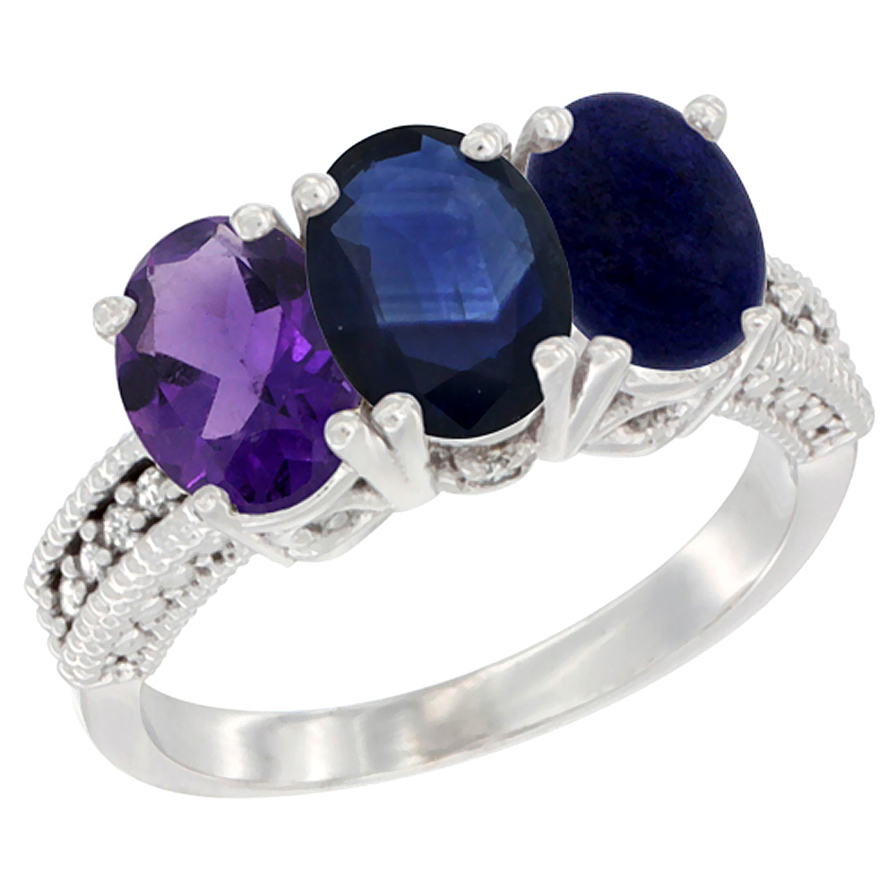 10K White Gold Natural Amethyst, Blue Sapphire & Lapis Ring 3-Stone Oval 7x5 mm Diamond Accent, sizes 5 - 10