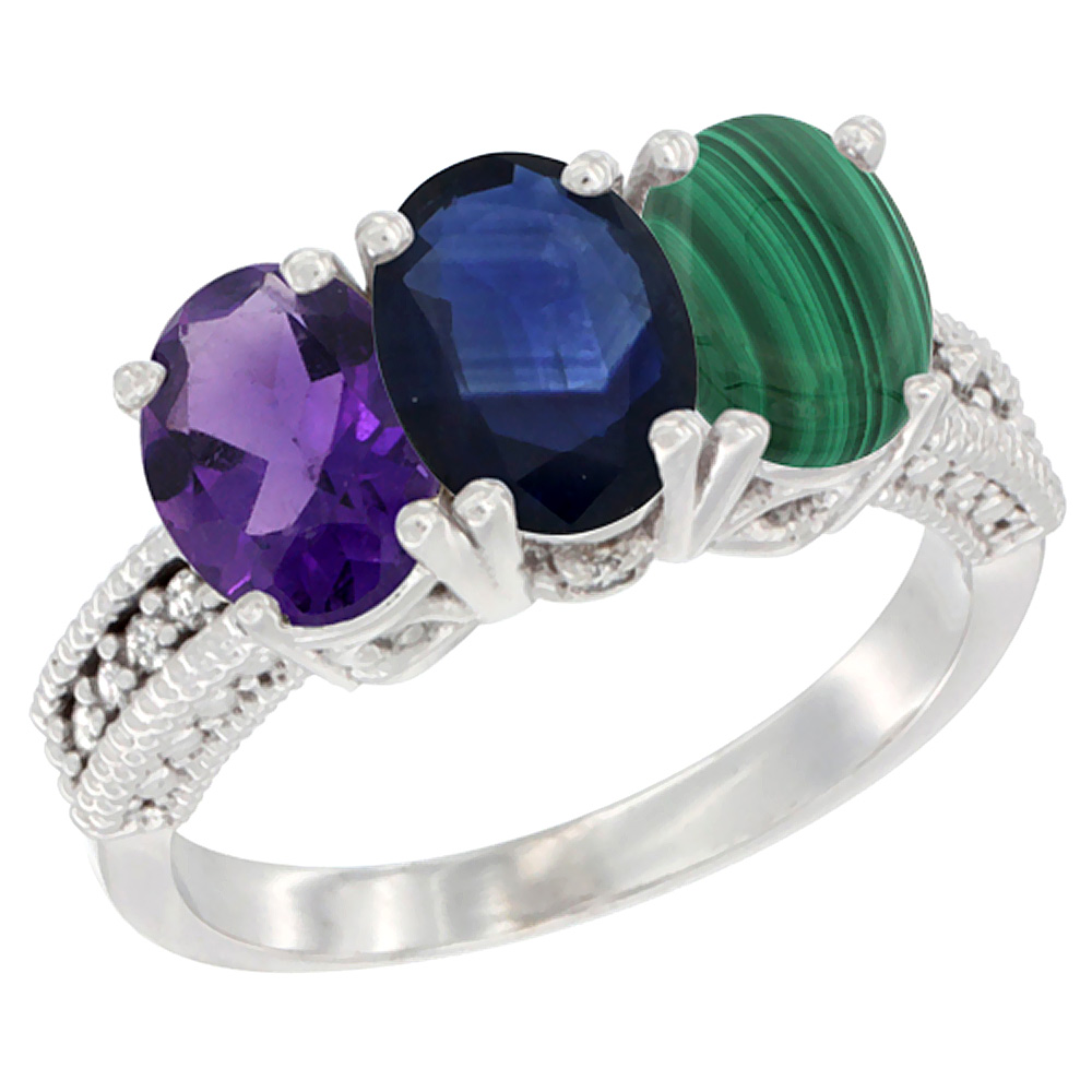 14K White Gold Natural Amethyst, Blue Sapphire & Malachite Ring 3-Stone 7x5 mm Oval Diamond Accent, sizes 5 - 10
