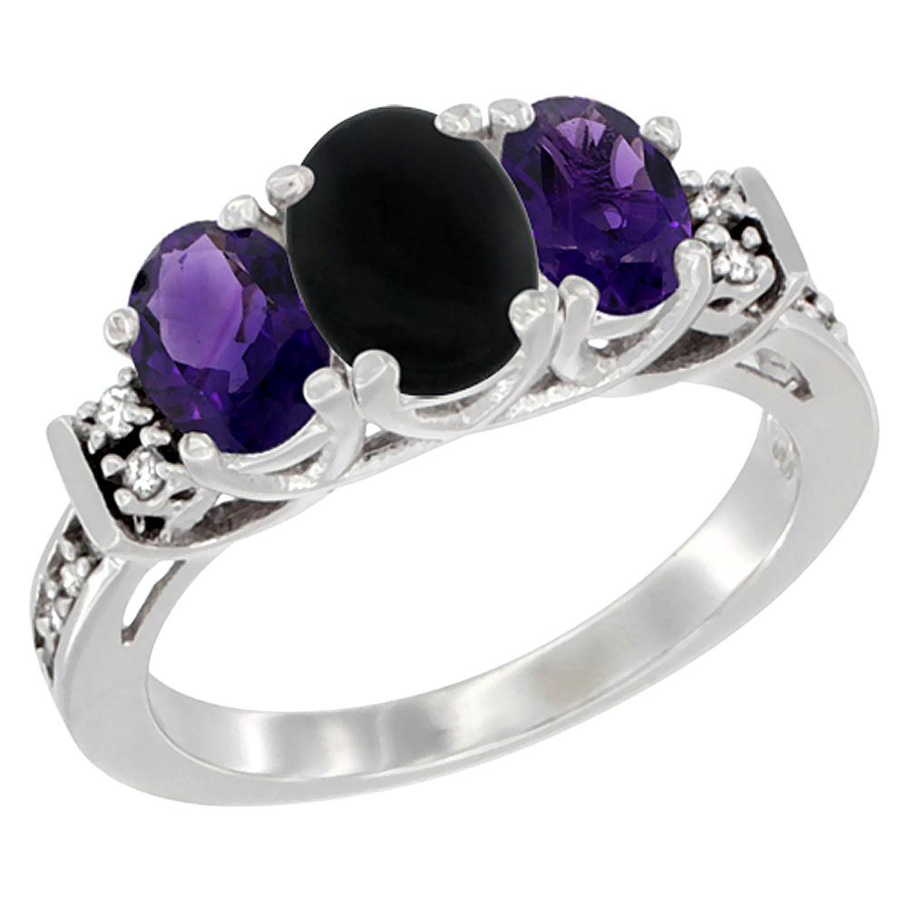 10K White Gold Natural Black Onyx & Amethyst Ring 3-Stone Oval Diamond Accent, sizes 5-10