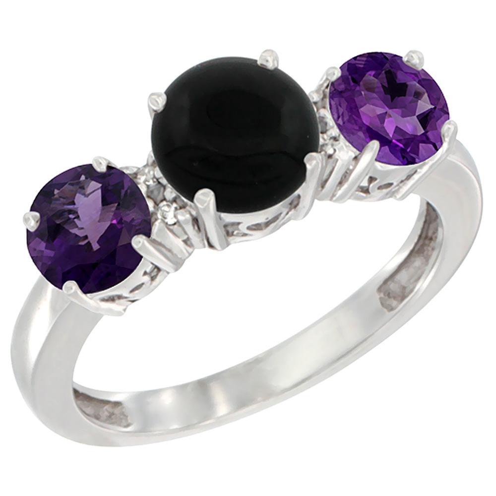 14K White Gold Round 3-Stone Natural Black Onyx Ring & Amethyst Sides Diamond Accent, sizes 5 - 10