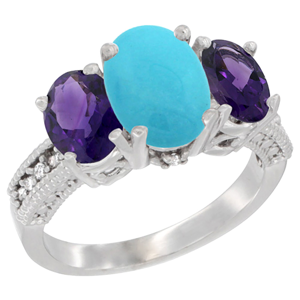 14K White Gold Diamond Natural Turquoise Ring 3-Stone Oval 8x6mm with Amethyst, sizes5-10