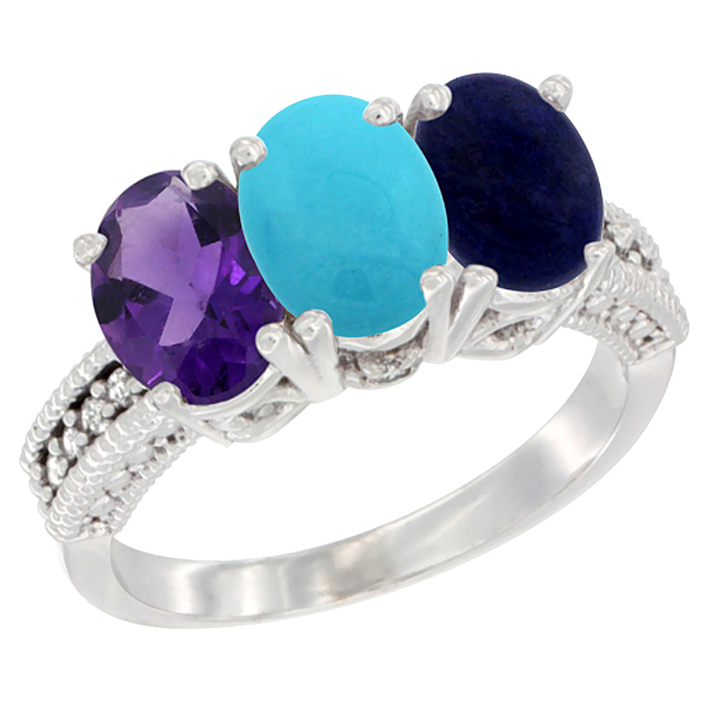 10K White Gold Natural Amethyst, Turquoise & Lapis Ring 3-Stone Oval 7x5 mm Diamond Accent, sizes 5 - 10