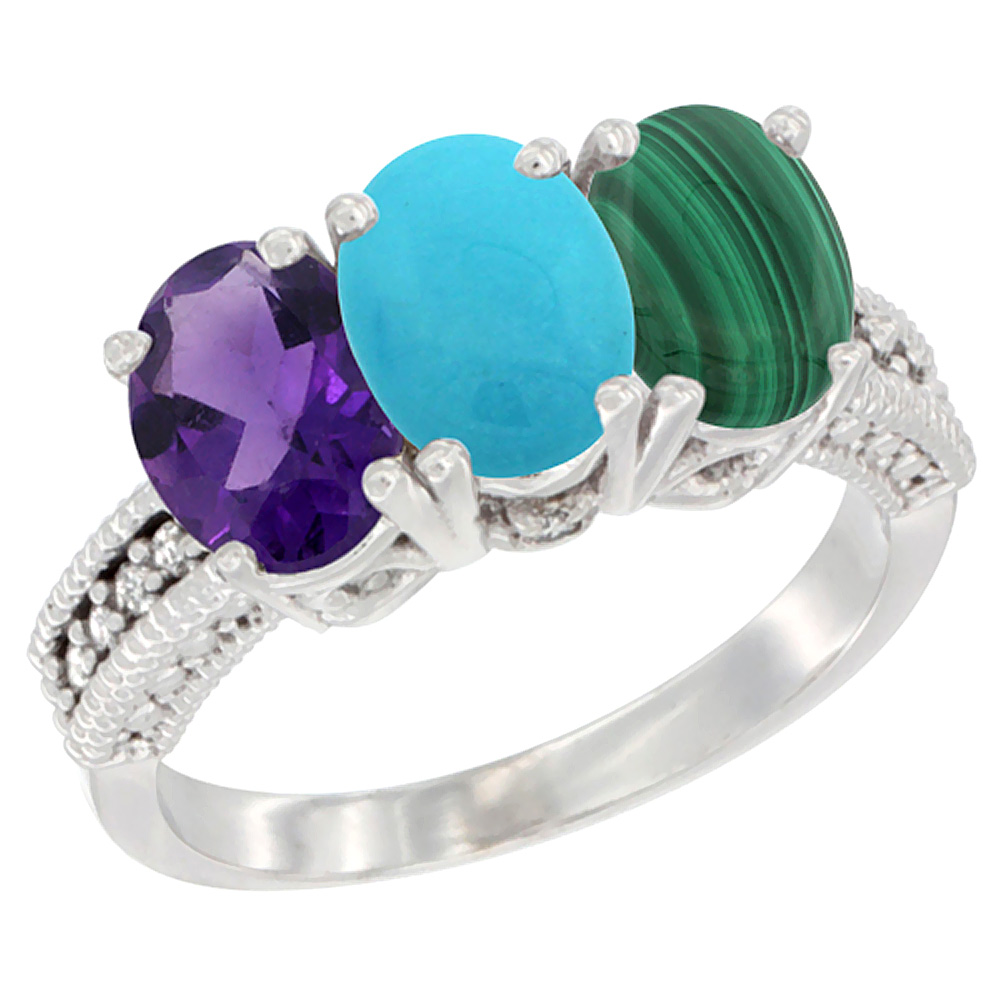 10K White Gold Natural Amethyst, Turquoise & Malachite Ring 3-Stone Oval 7x5 mm Diamond Accent, sizes 5 - 10