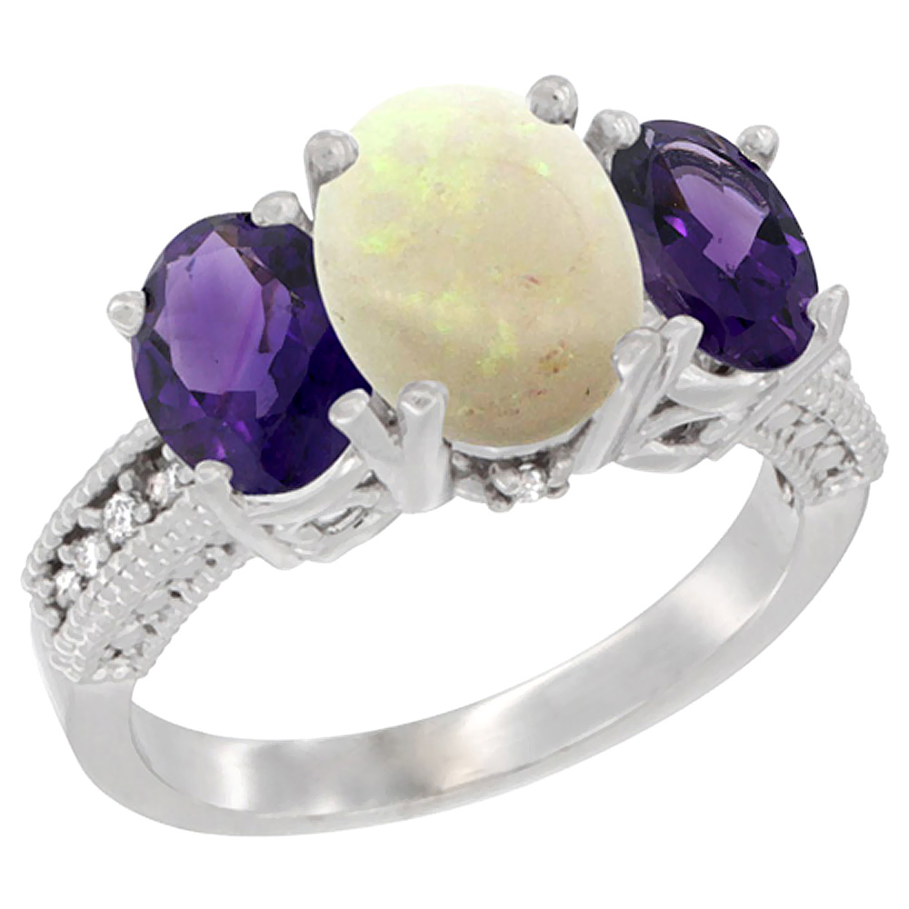10K White Gold Diamond Natural Opal Ring 3-Stone Oval 8x6mm with Amethyst, sizes5-10