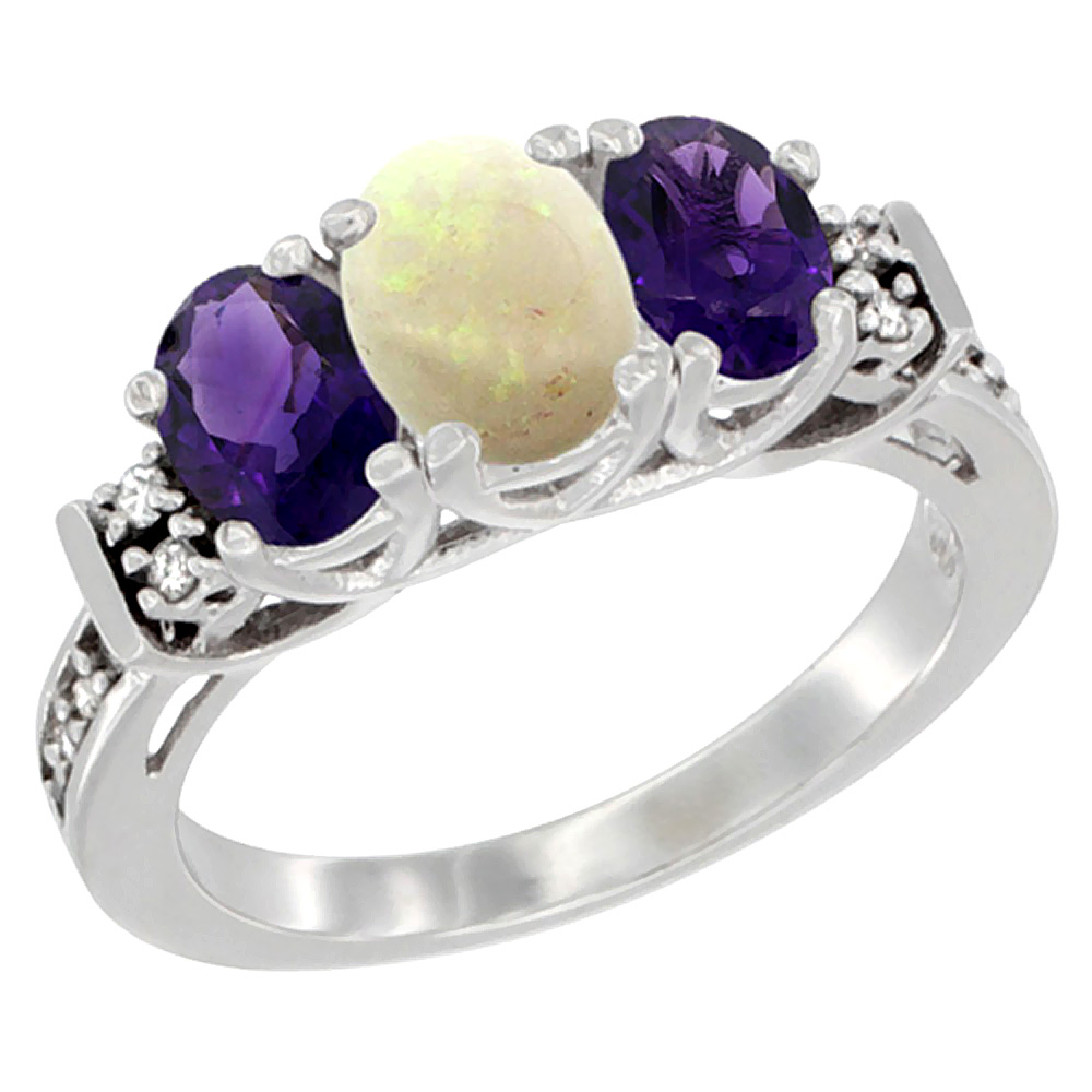 10K White Gold Natural Opal & Amethyst Ring 3-Stone Oval Diamond Accent, sizes 5-10