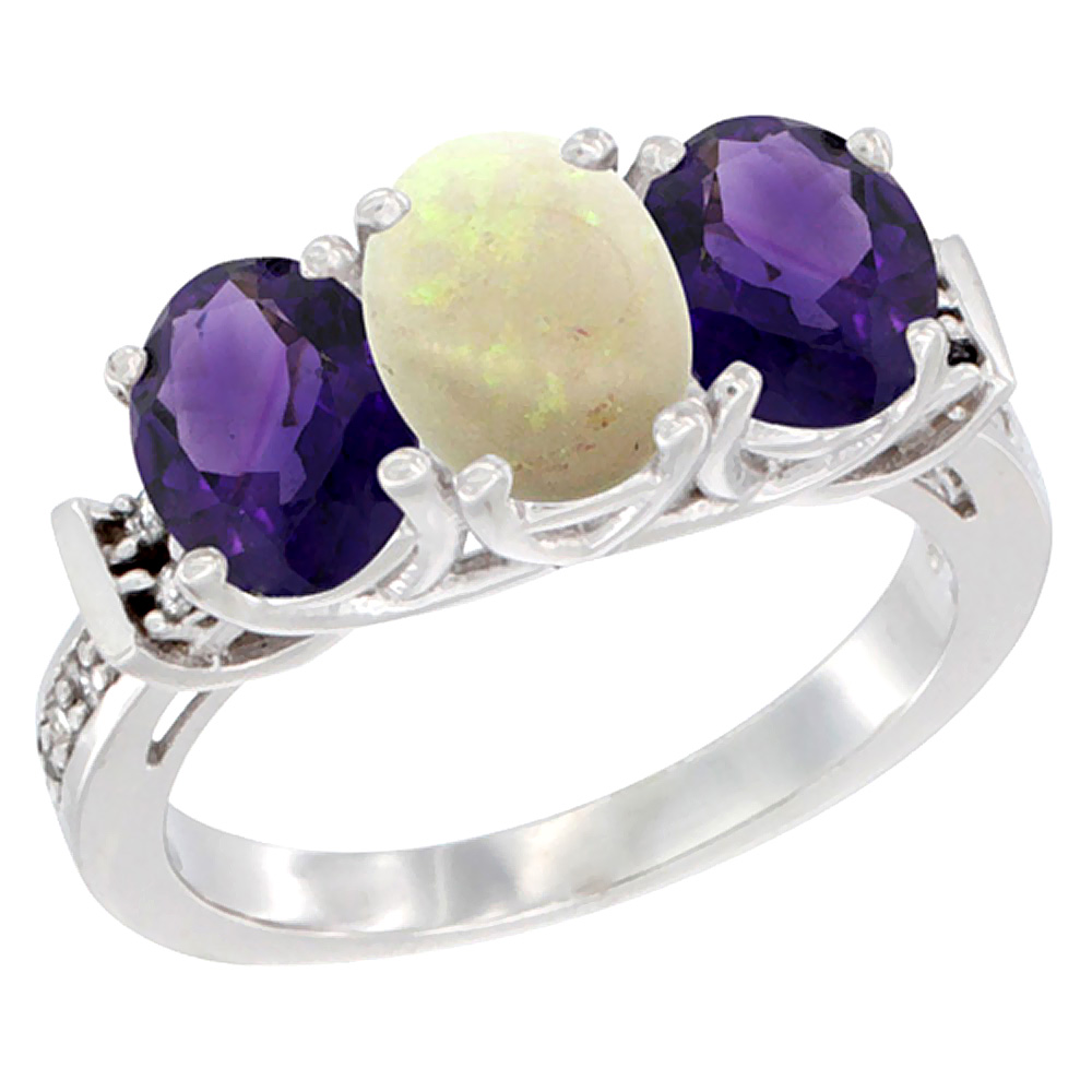 10K White Gold Natural Opal & Amethyst Sides Ring 3-Stone Oval Diamond Accent, sizes 5 - 10