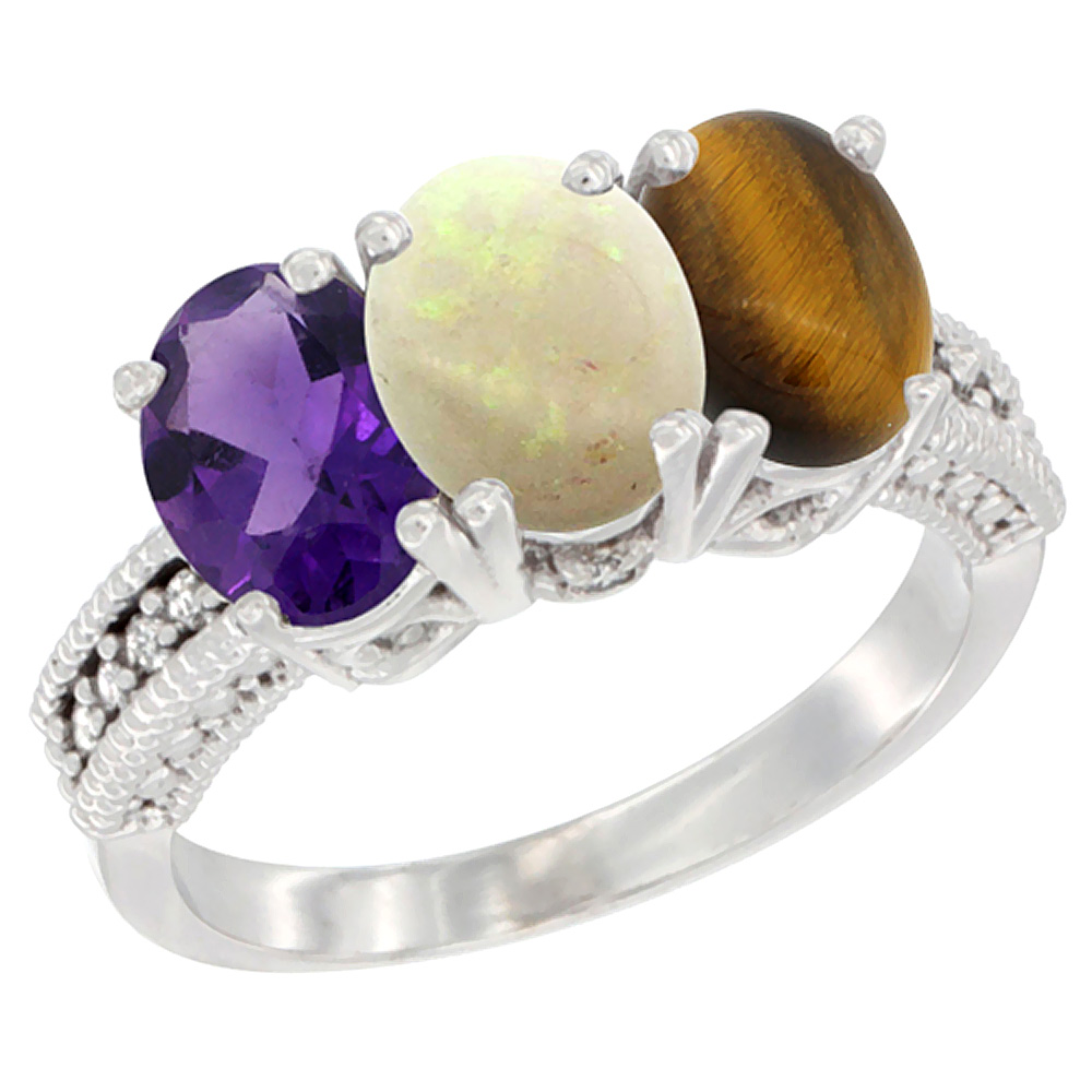 10K White Gold Natural Amethyst, Opal & Tiger Eye Ring 3-Stone Oval 7x5 mm Diamond Accent, sizes 5 - 10
