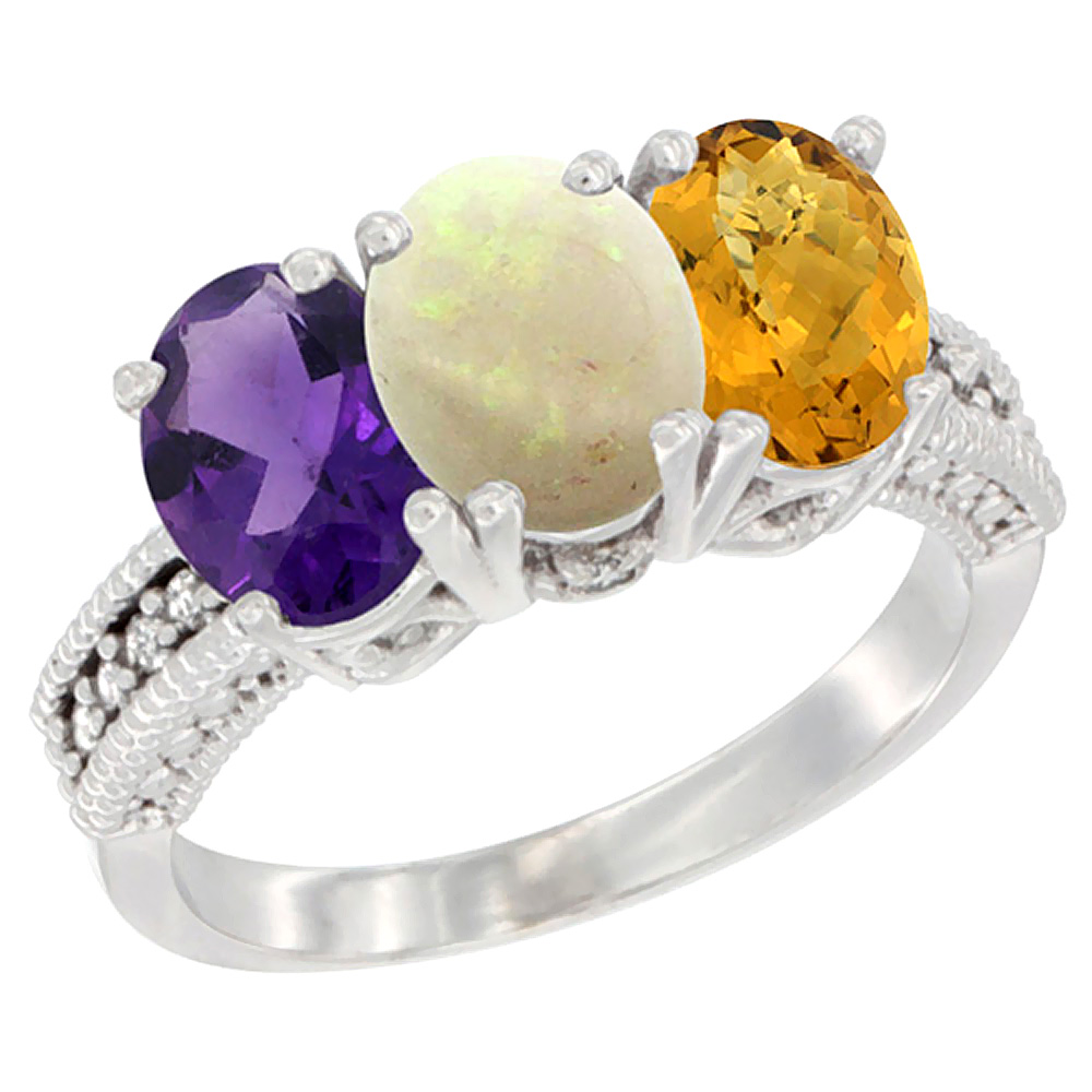 10K White Gold Natural Amethyst, Opal & Whisky Quartz Ring 3-Stone Oval 7x5 mm Diamond Accent, sizes 5 - 10
