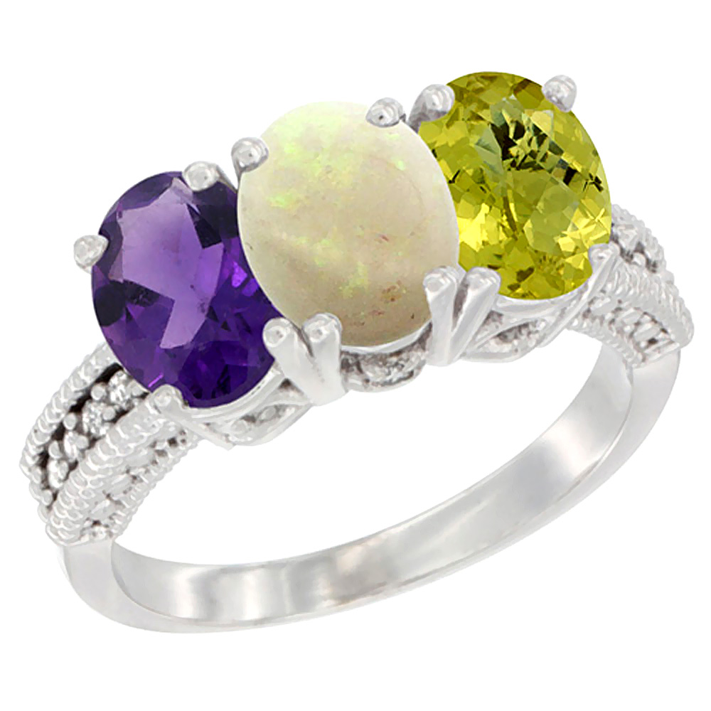 10K White Gold Natural Amethyst, Opal & Lemon Quartz Ring 3-Stone Oval 7x5 mm Diamond Accent, sizes 5 - 10