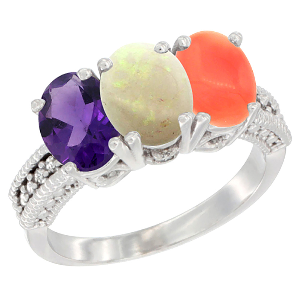 10K White Gold Natural Amethyst, Opal & Coral Ring 3-Stone Oval 7x5 mm Diamond Accent, sizes 5 - 10