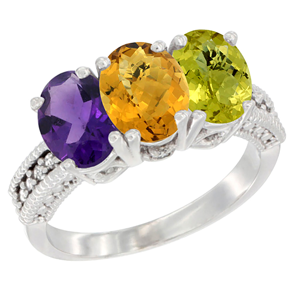 14K White Gold Natural Amethyst, Whisky Quartz & Lemon Quartz Ring 3-Stone 7x5 mm Oval Diamond Accent, sizes 5 - 10