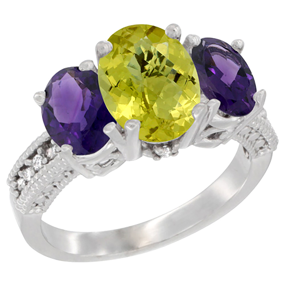 10K White Gold Diamond Natural Lemon Quartz Ring 3-Stone Oval 8x6mm with Amethyst, sizes5-10