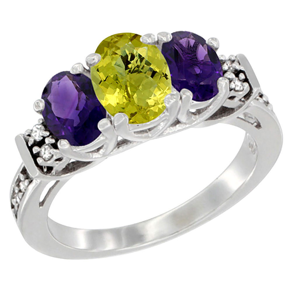 14K White Gold Natural Lemon Quartz & Amethyst Ring 3-Stone Oval Diamond Accent, sizes 5-10
