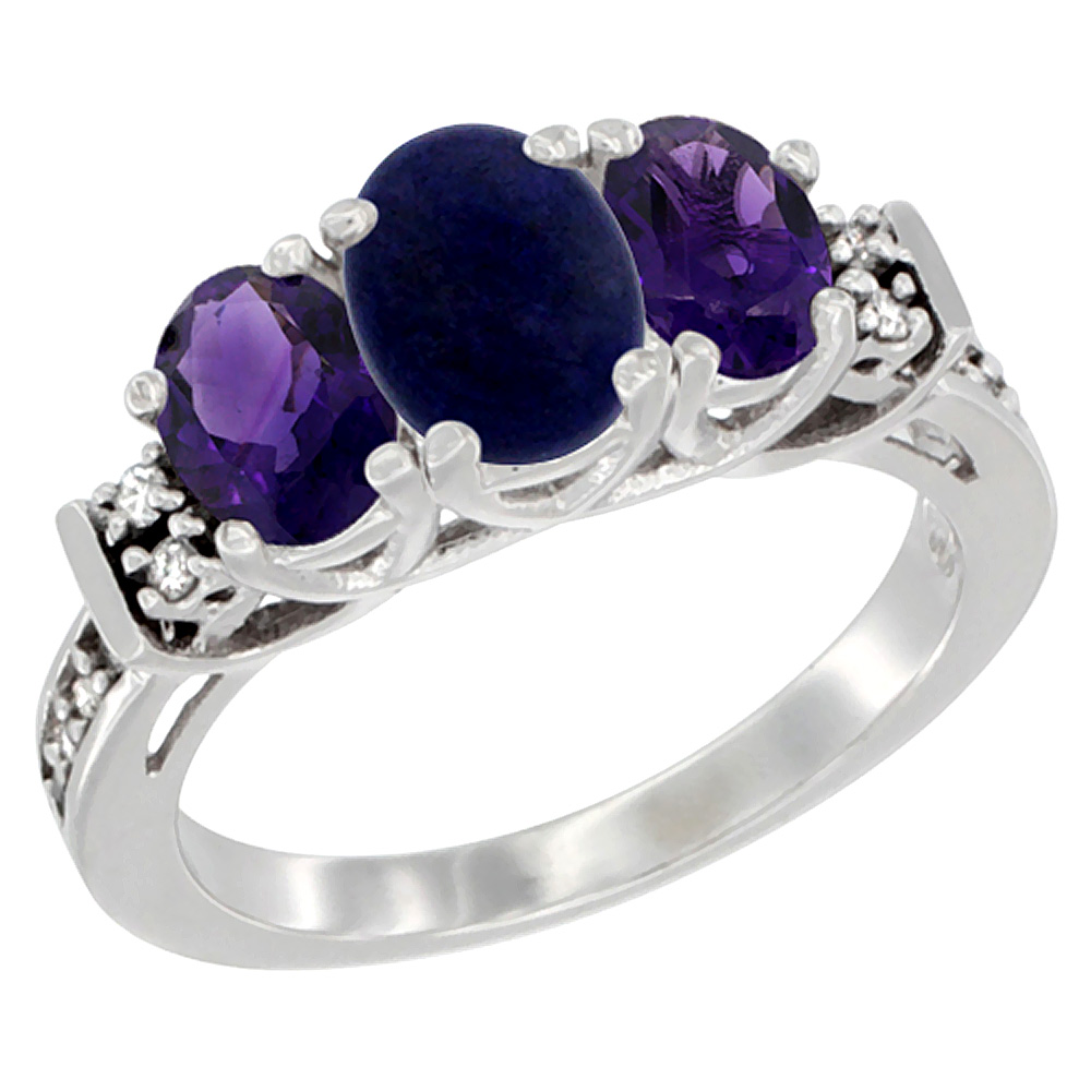 10K White Gold Natural Lapis & Amethyst Ring 3-Stone Oval Diamond Accent, sizes 5-10
