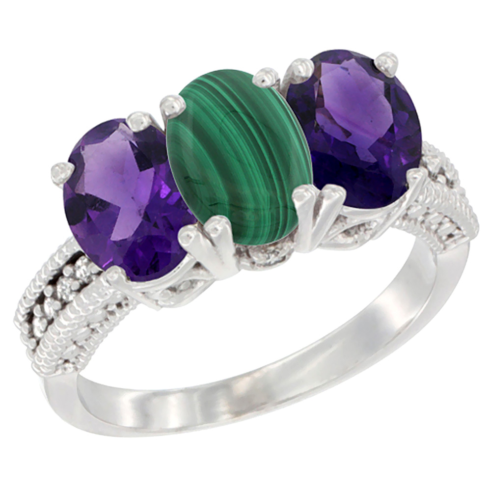 14K White Gold Natural Malachite & Amethyst Ring 3-Stone 7x5 mm Oval Diamond Accent, sizes 5 - 10