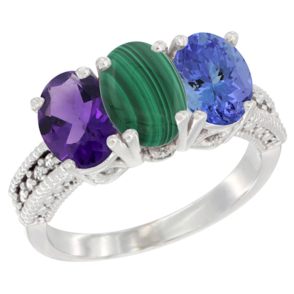 14K White Gold Natural Amethyst, Malachite & Tanzanite Ring 3-Stone 7x5 mm Oval Diamond Accent, sizes 5 - 10