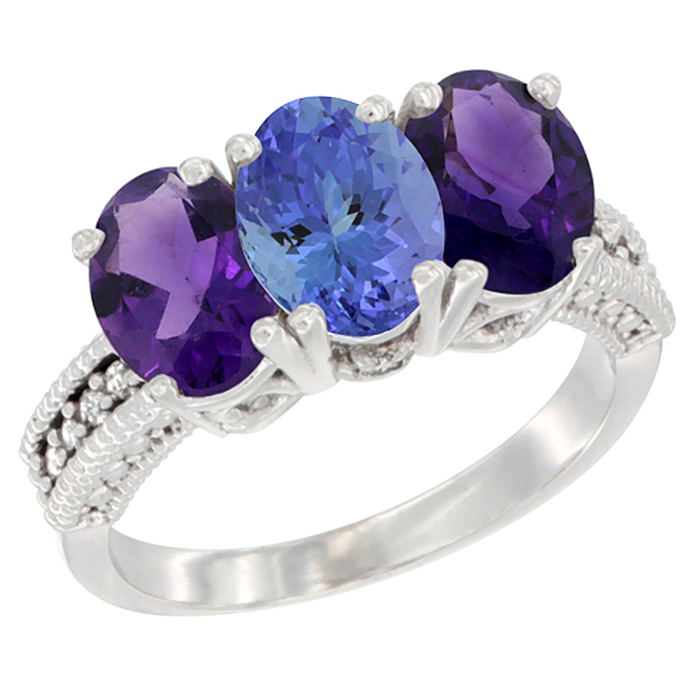 10K White Gold Natural Tanzanite & Amethyst Sides Ring 3-Stone Oval 7x5 mm Diamond Accent, sizes 5 - 10