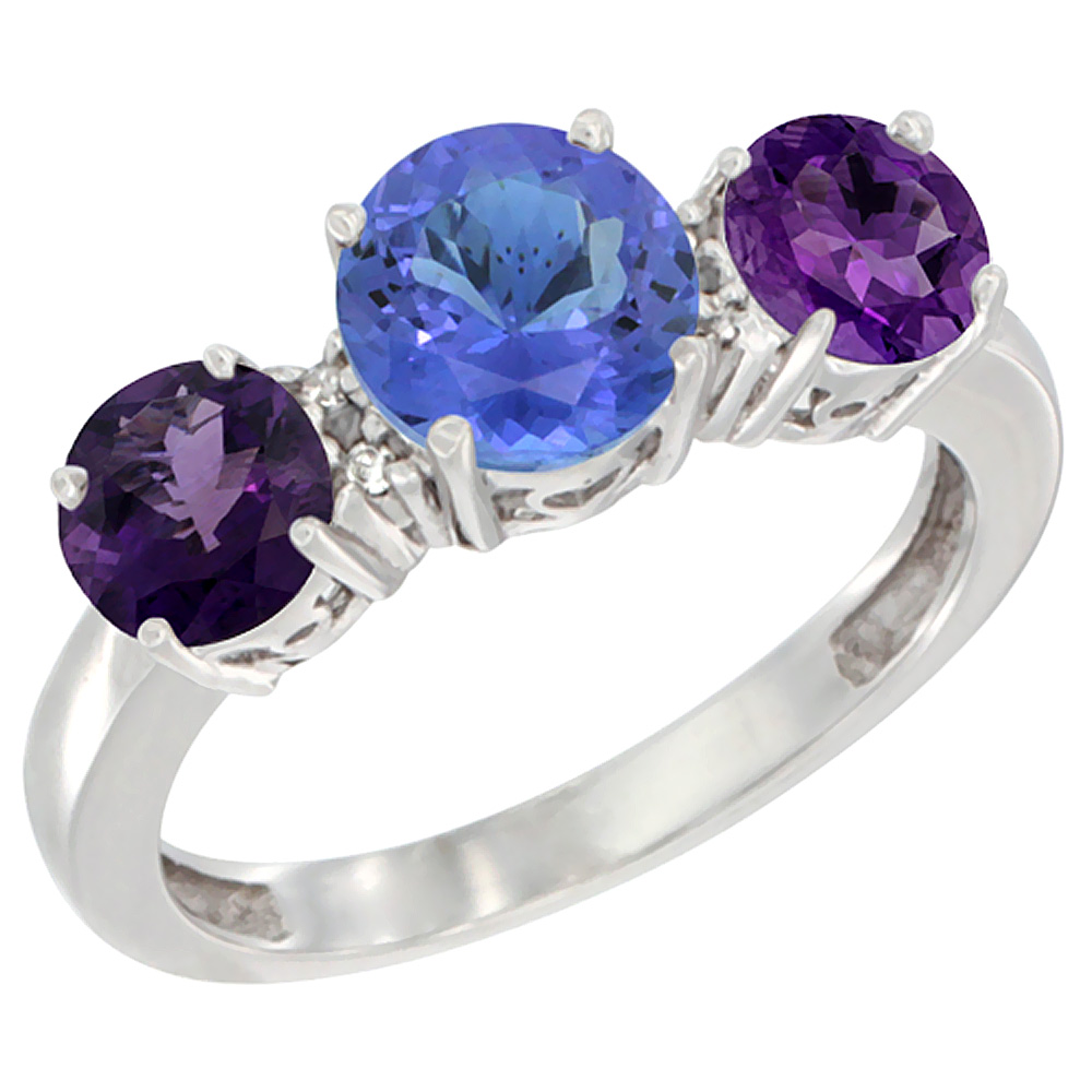 14K White Gold Round 3-Stone Natural Tanzanite Ring & Amethyst Sides Diamond Accent, sizes 5 - 10
