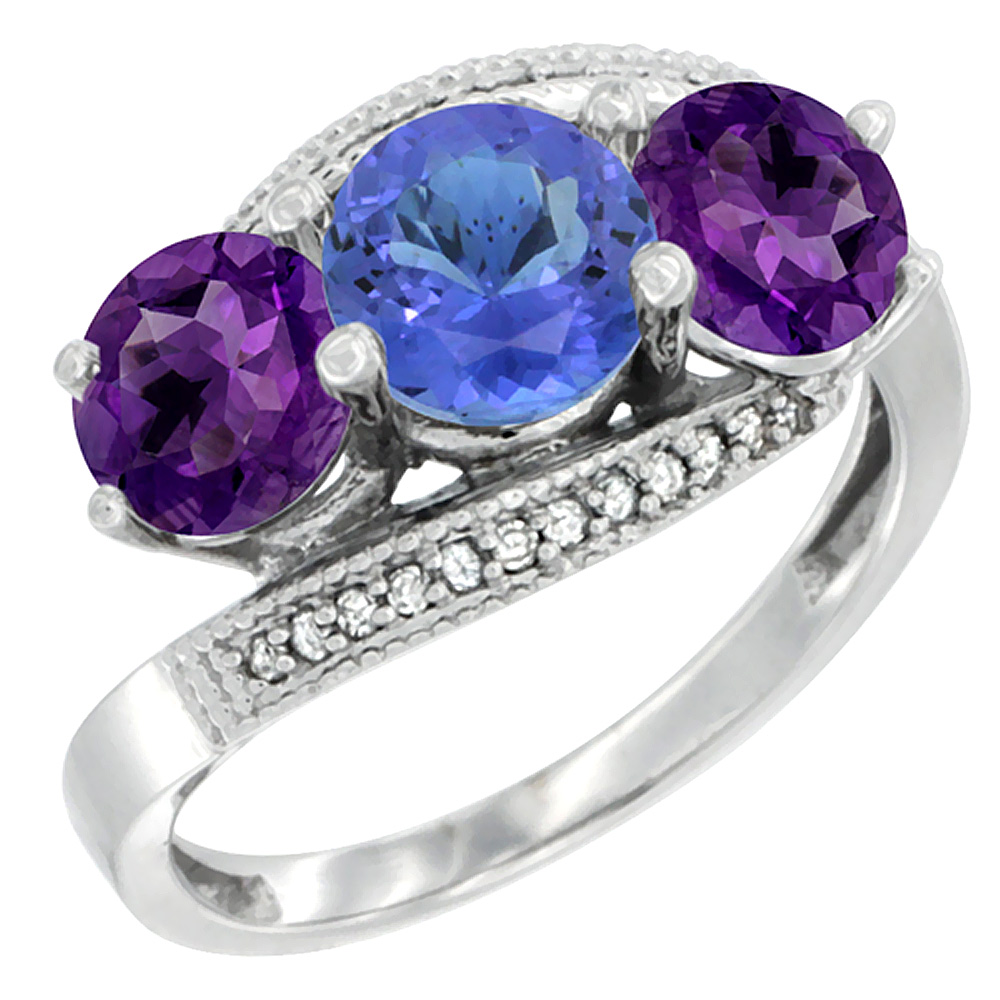 14K White Gold Natural Tanzanite & Amethyst Sides 3 stone Ring Round 6mm Diamond Accent, sizes 5 - 10