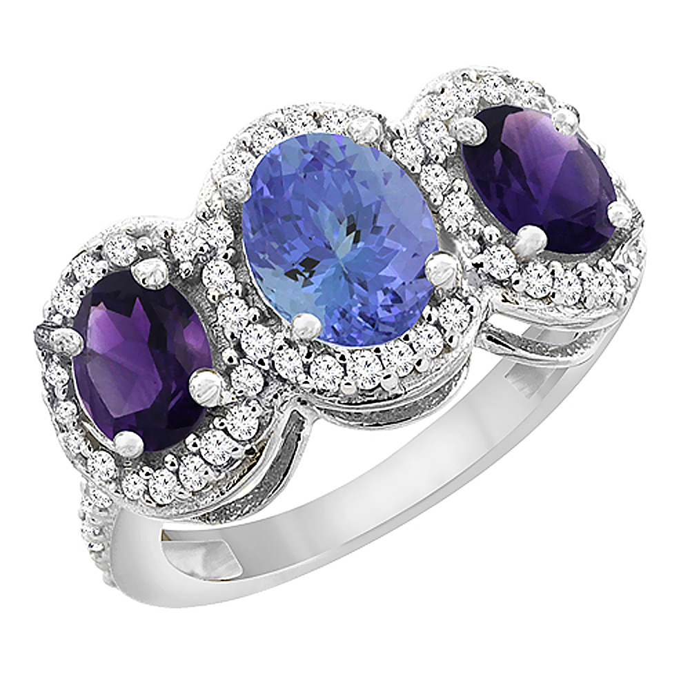 10K White Gold Natural Tanzanite & Amethyst 3-Stone Ring Oval Diamond Accent, sizes 5 - 10