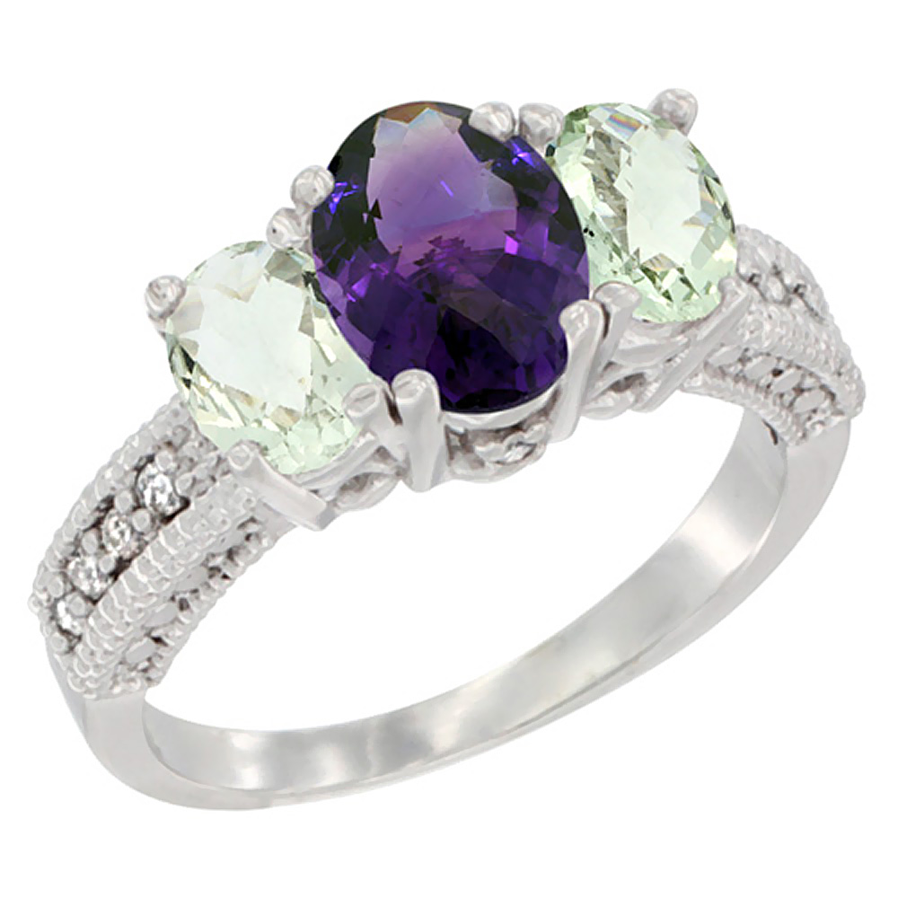 10K White Gold Diamond Natural Amethyst Ring Oval 3-stone with Green Amethyst, sizes 5 - 10