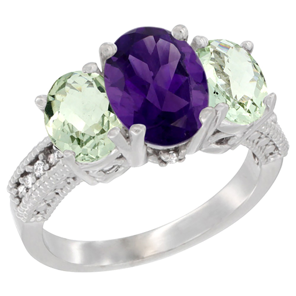 14K White Gold Diamond Natural Amethyst Ring 3-Stone Oval 8x6mm with Green Amethyst, sizes5-10