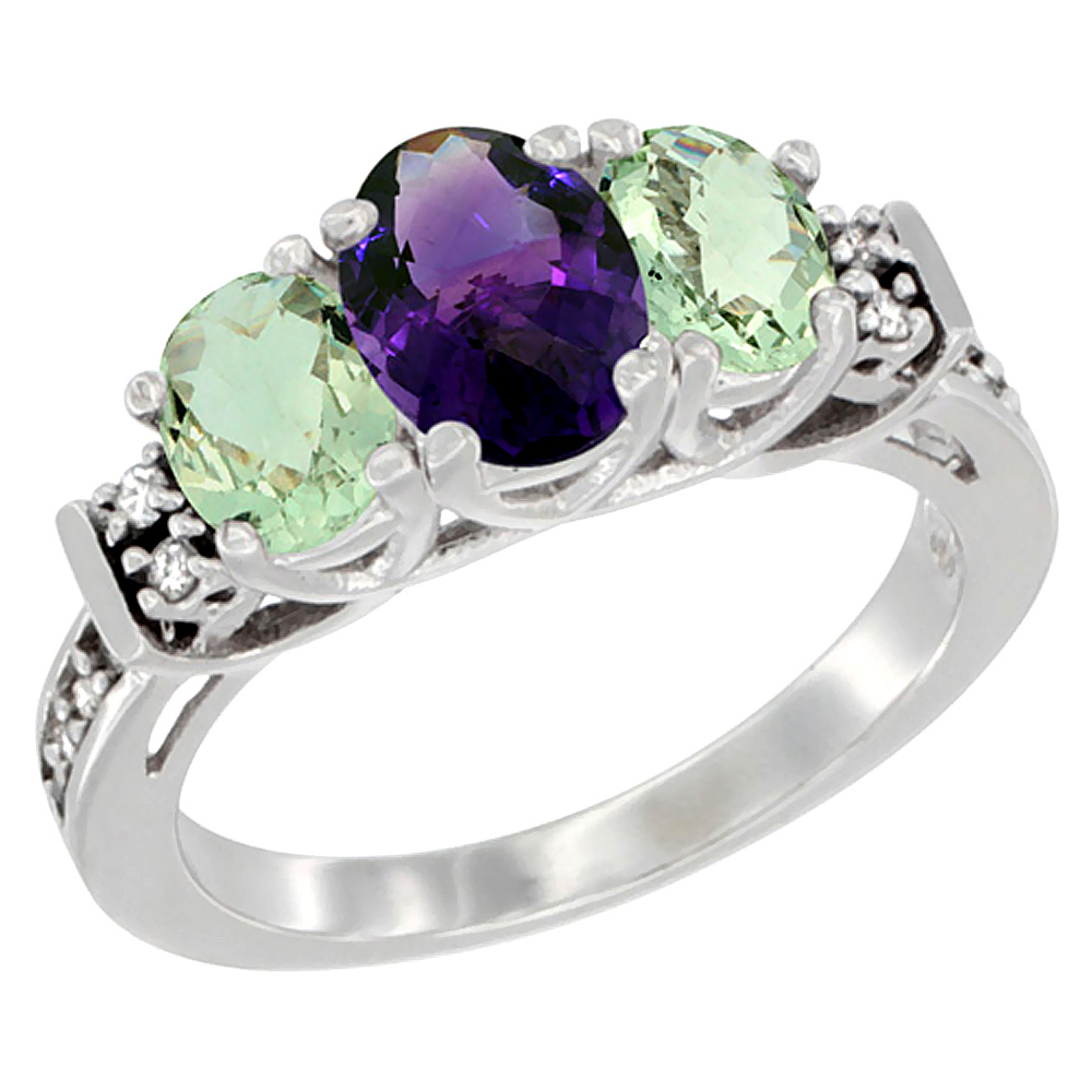 10K White Gold Natural Amethyst & Green Amethyst Ring 3-Stone Oval Diamond Accent, sizes 5-10