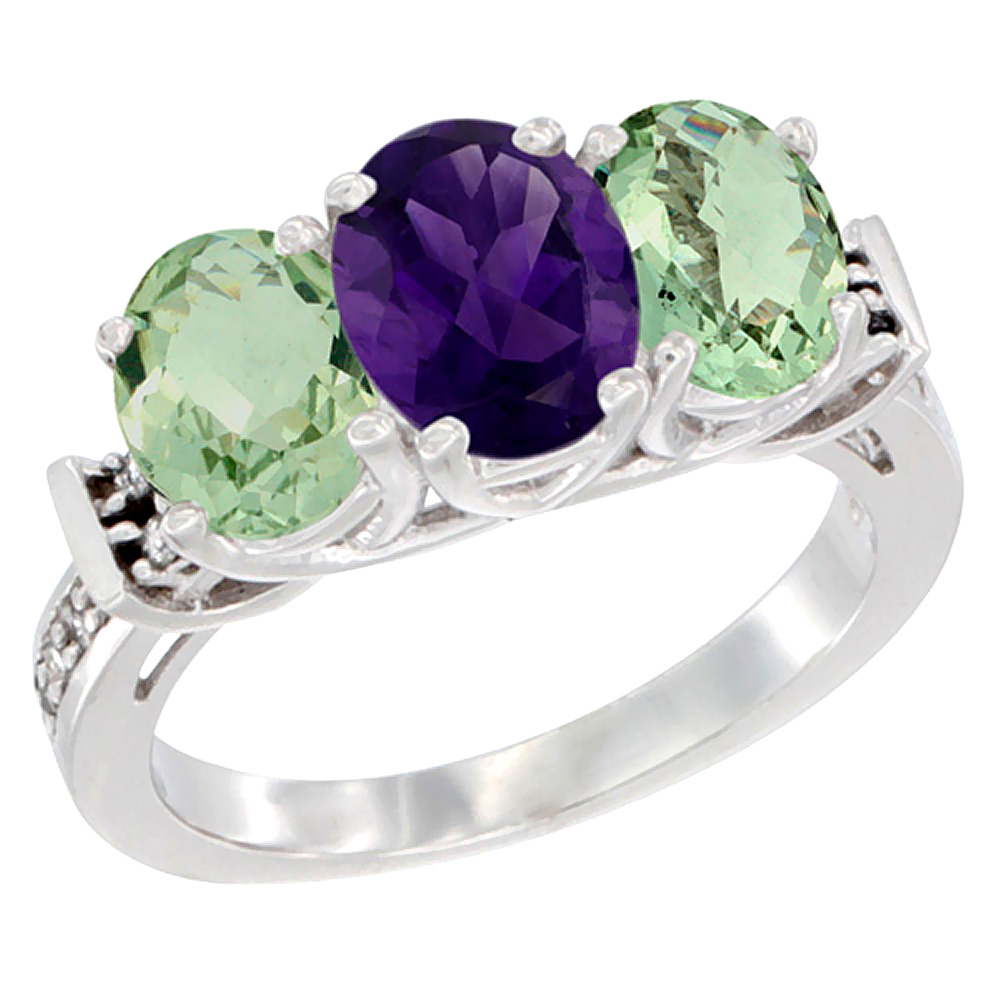 10K White Gold Natural Purple & Green Amethysts Ring 3-Stone Oval Diamond Accent, sizes 5 - 10