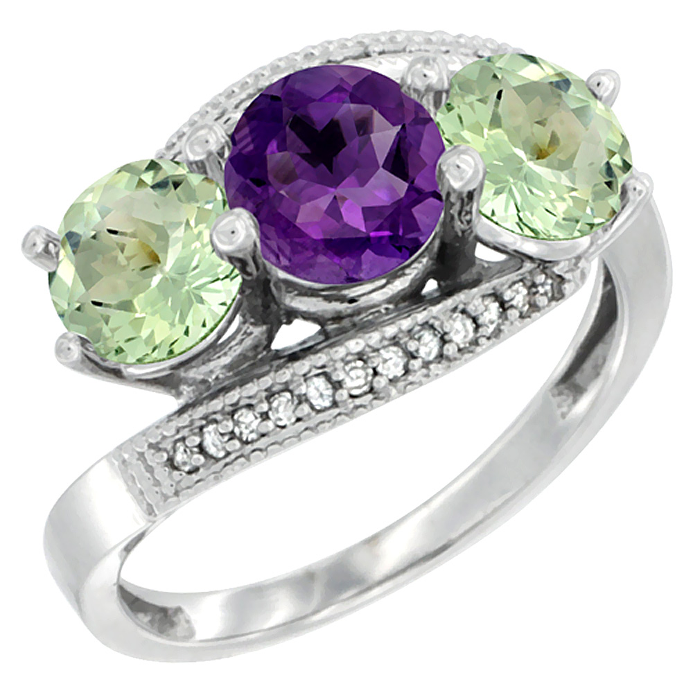 10K White Gold Natural Purple & Green Amethyst Sides 3 stone Ring Round 6mm Diamond Accent, sizes 5 - 10