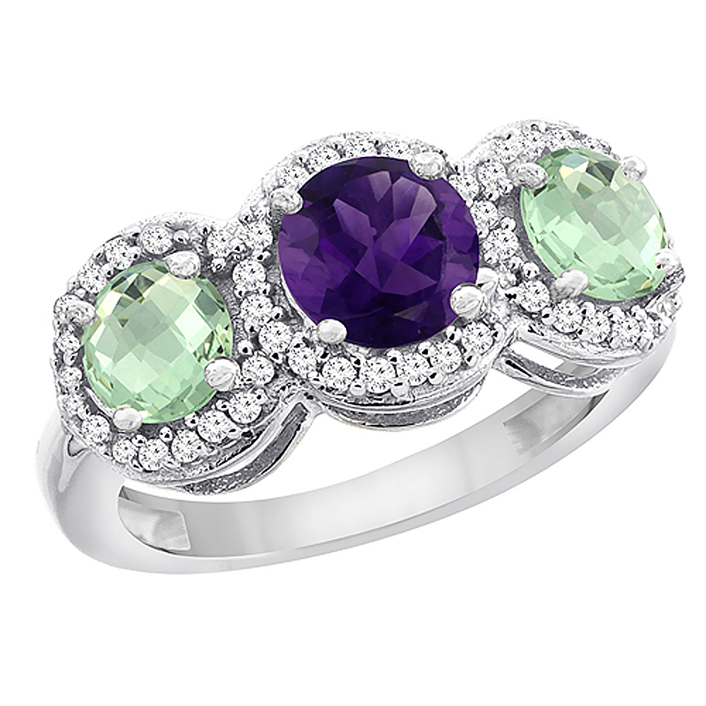 14K White Gold Natural Amethyst & Green Amethyst Sides Round 3-stone Ring Diamond Accents, sizes 5 - 10