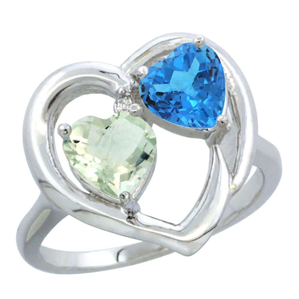 14K White Gold Diamond Two-stone Heart Ring 6mm Natural Green Amethyst & Swiss Blue Topaz, sizes 5-10