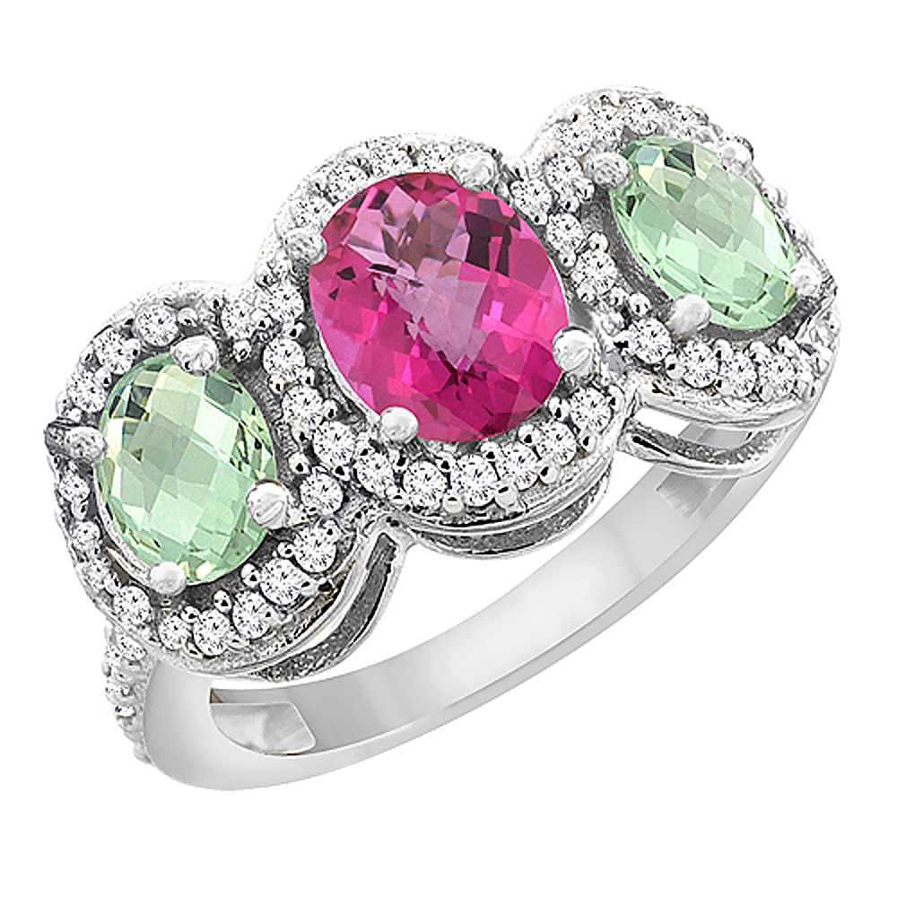 14K White Gold Natural Pink Sapphire & Green Amethyst 3-Stone Ring Oval Diamond Accent, sizes 5 - 10