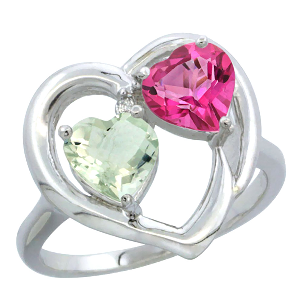 14K White Gold Diamond Two-stone Heart Ring 6mm Natural Green Amethyst & Pink Topaz, sizes 5-10