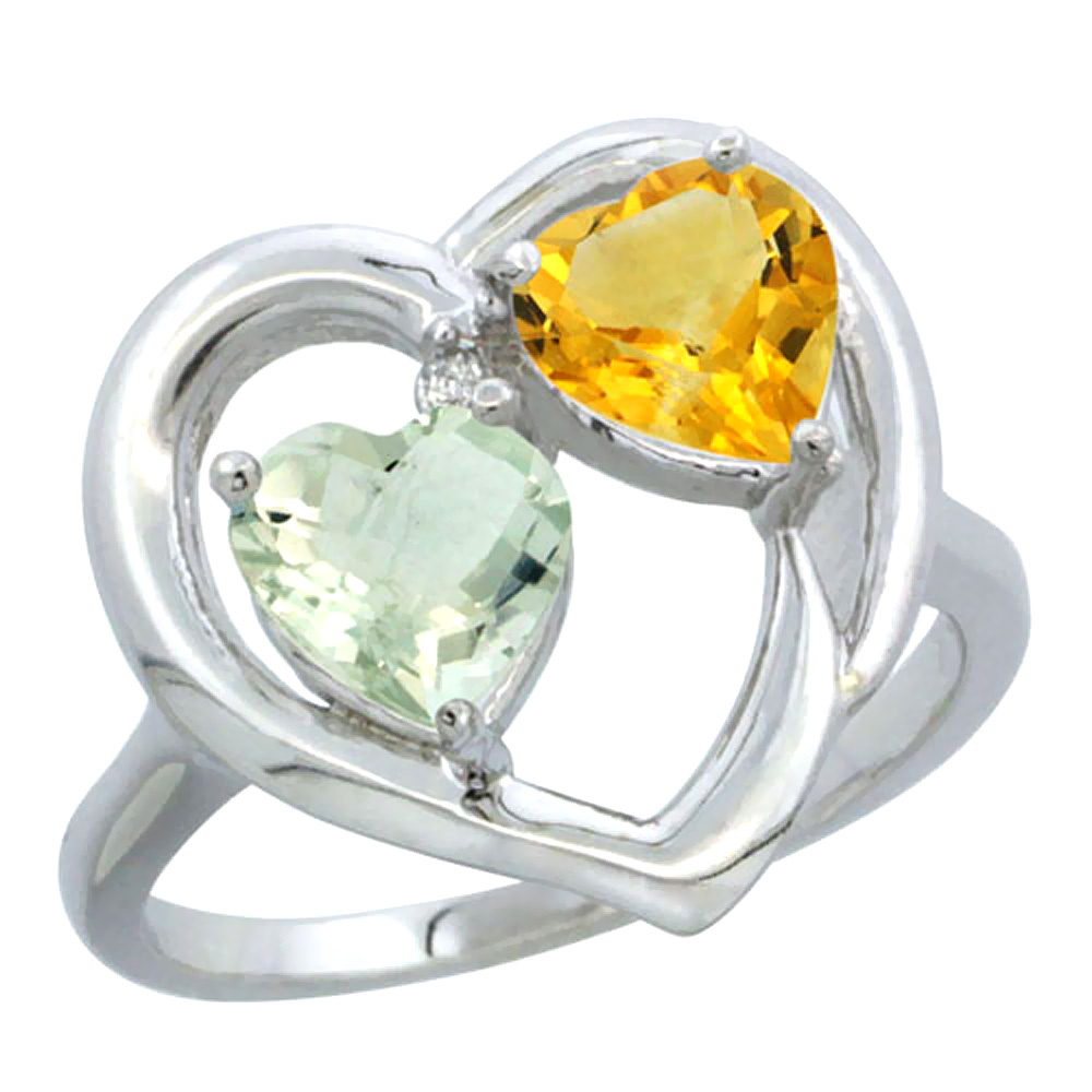 14K White Gold Diamond Two-stone Heart Ring 6mm Natural Green Amethyst & Citrine, sizes 5-10