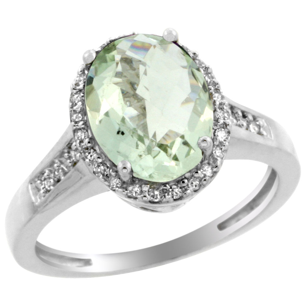 10K White Gold Diamond Genuine Green Amethyst Engagement Ring Oval 10x8mm sizes 5-10