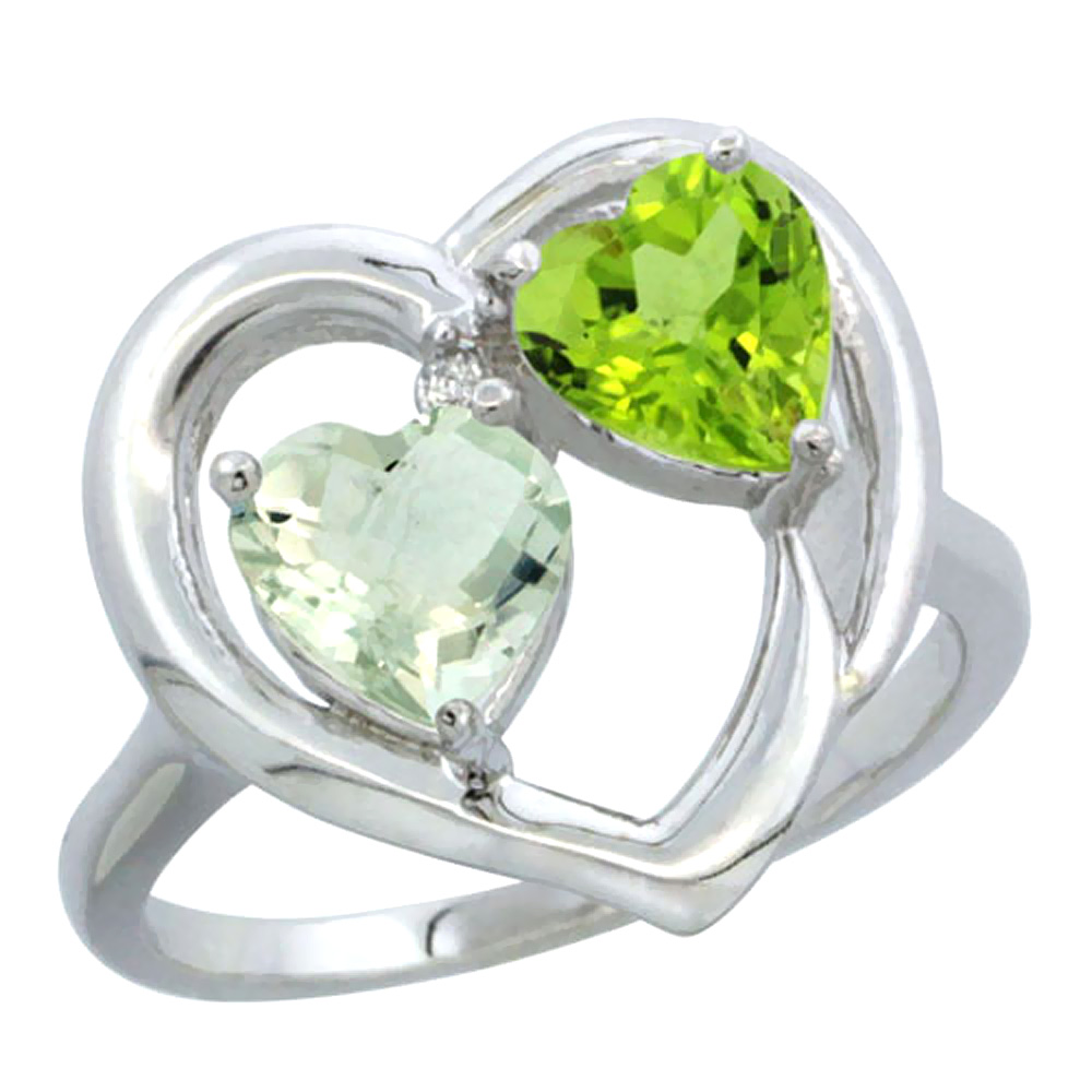14K White Gold Diamond Two-stone Heart Ring 6mm Natural Green Amethyst & Peridot, sizes 5-10