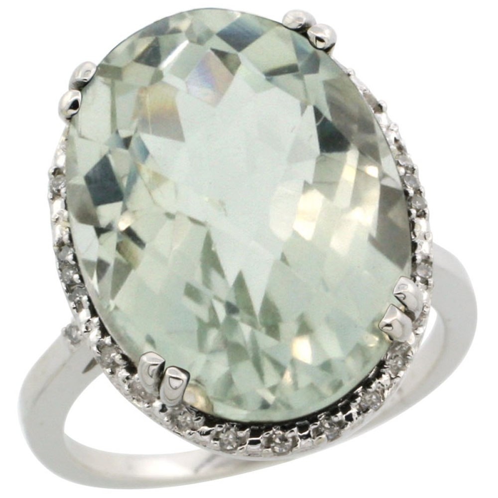 10k White Gold Diamond Halo Genuine Green Amethyst Ring Large Oval 18x13mm sizes 5-10