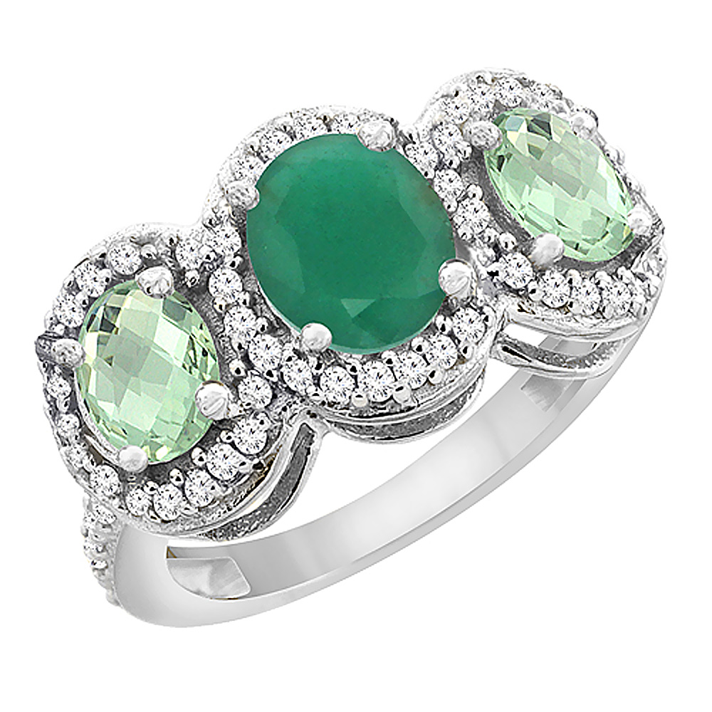 14K White Gold Natural Cabochon Emerald & Green Amethyst 3-Stone Ring Oval Diamond Accent, sizes 5 - 10