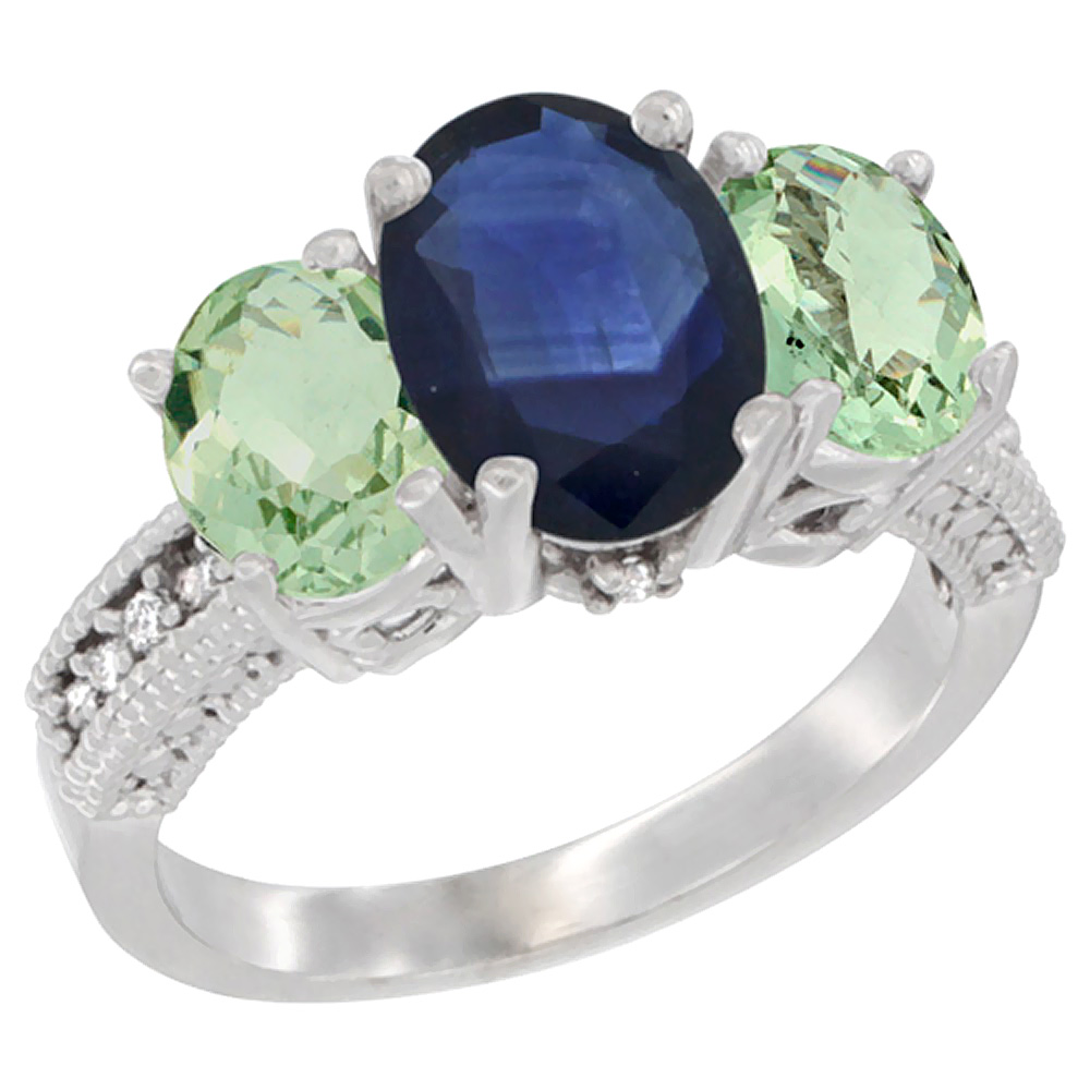 14K White Gold Diamond Natural Blue Sapphire Ring 3-Stone Oval 8x6mm with Green Amethyst, sizes5-10