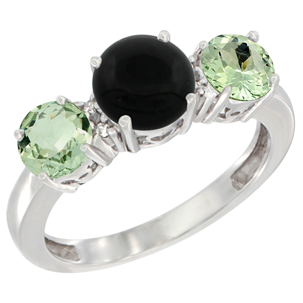 10K White Gold Round 3-Stone Natural Black Onyx Ring & Green Amethyst Sides Diamond Accent, sizes 5 - 10