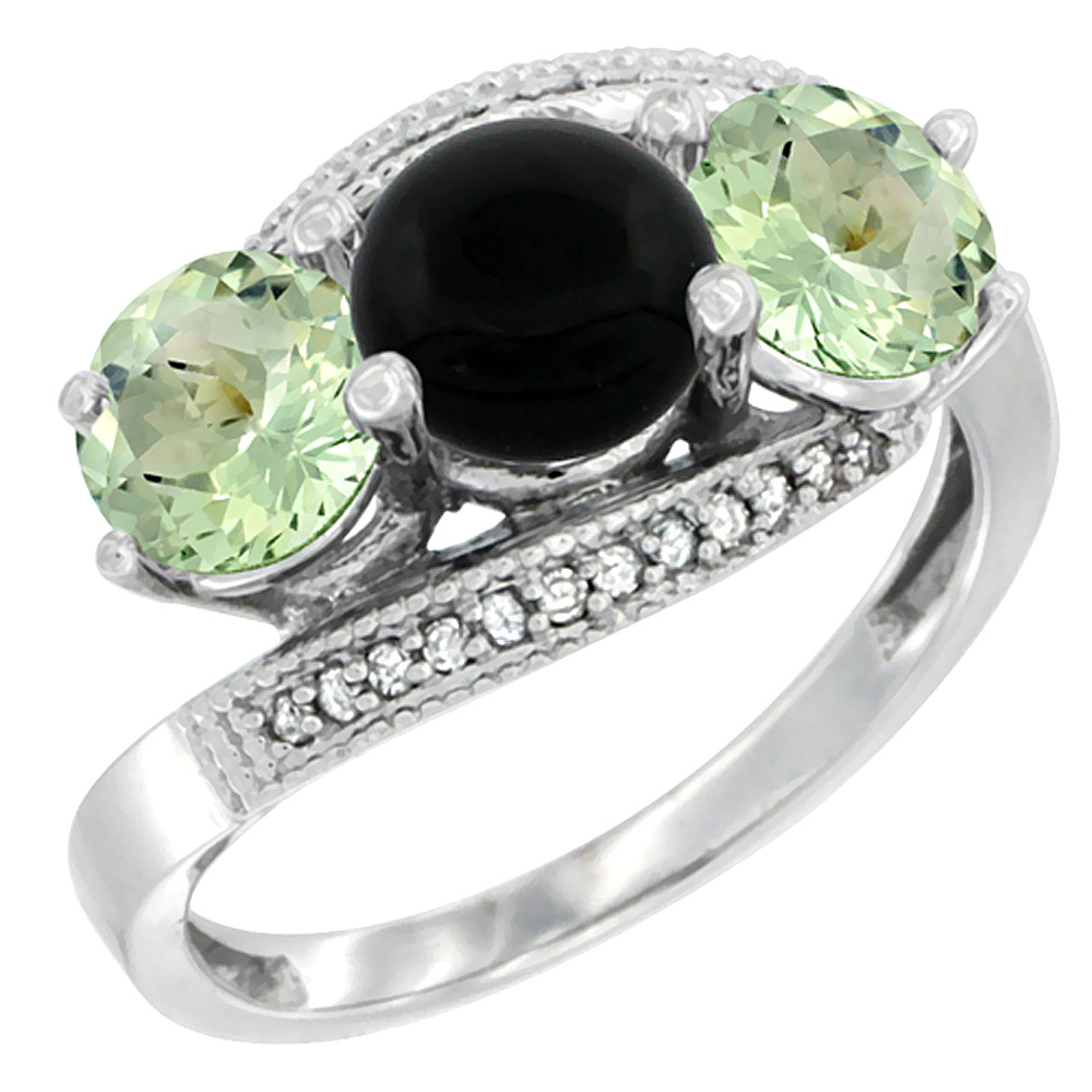 10K White Gold Natural Black Onyx & Green Amethyst Sides 3 stone Ring Round 6mm Diamond Accent, sizes 5 - 10
