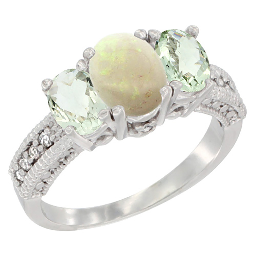 10K White Gold Diamond Natural Opal Ring Oval 3-stone with Green Amethyst, sizes 5 - 10