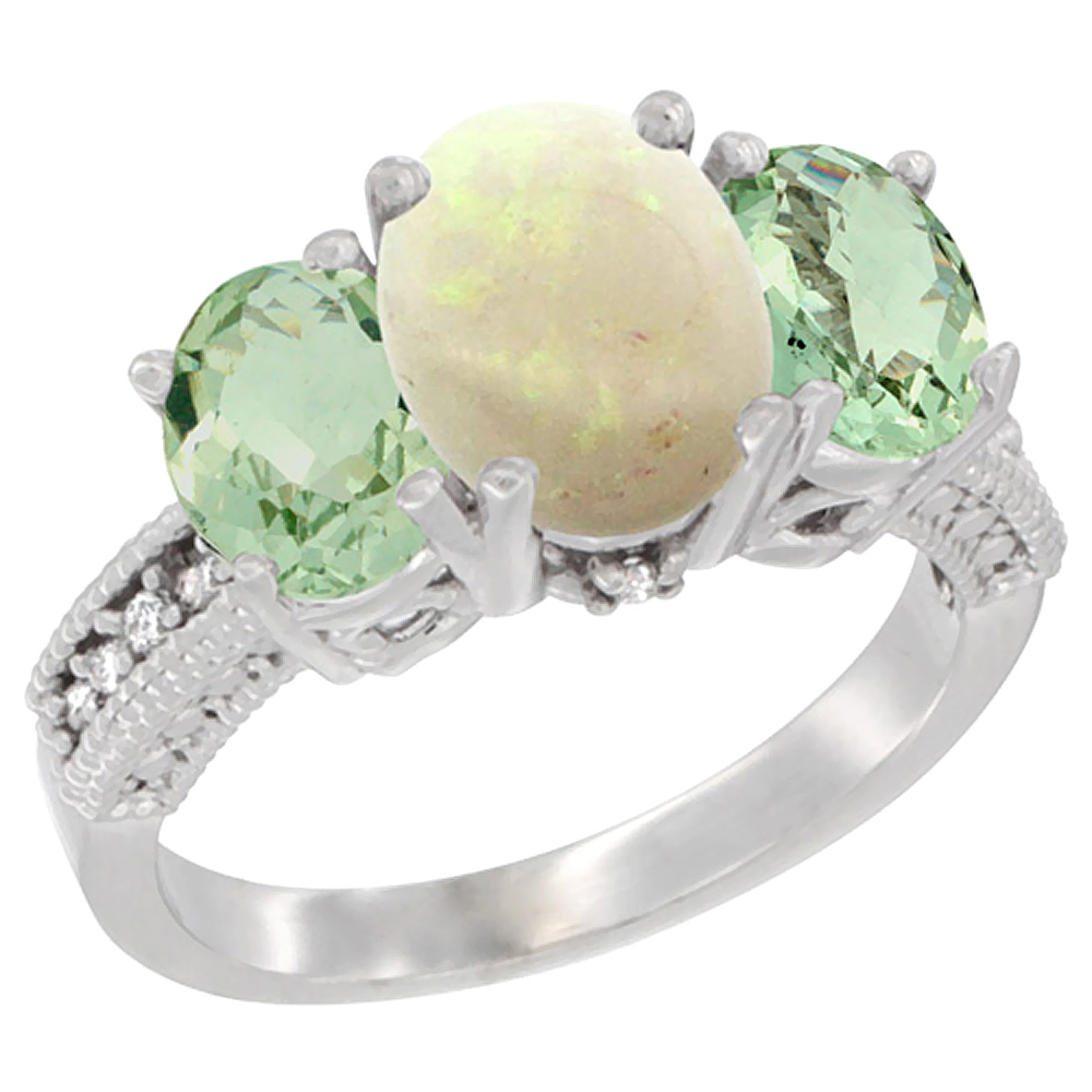 10K White Gold Diamond Natural Opal Ring 3-Stone Oval 8x6mm with Green Amethyst, sizes5-10